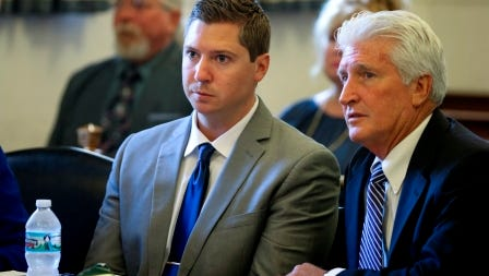 Ray Tensing and his defense attorney Stew Mathews listen to Assistant Prosecutor Stacey DeGraffenreid's opening statement on the first day of Tensing's retrial in Hamilton County Common Pleas Judge Leslie Ghiz's courtroom Thursday, June 8, 2017.