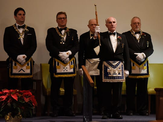 Grand Marshall Frank Dascenza declares the officers being installed for 2017. Standing behind him are Matt Wilde (left), and past Masters Carl Censoni, Tom Tabor and Dave Husk.