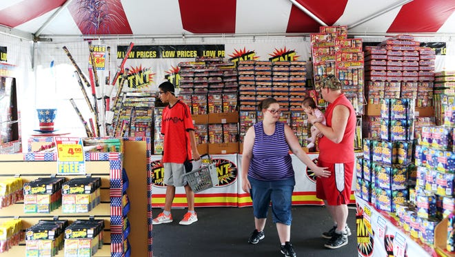 A  fireworks stand in 2014.
