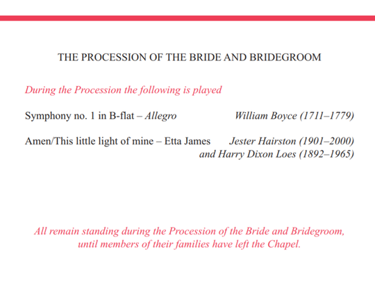 The procession of bride and bridegroom.