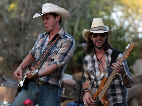 Stagecoach Mane Stage performer Jon Pardi, left, performs