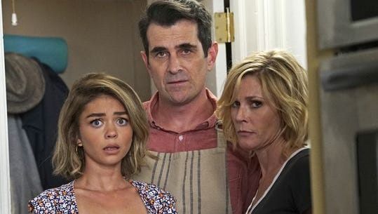 Sarah Hyland, Ty Burrell and Julie Bowen look worried about this season's 21% ratings drop for ABC hit 'Modern Family.'
