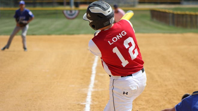 Justin Long bats in the Maryland District 8 State Championship game.