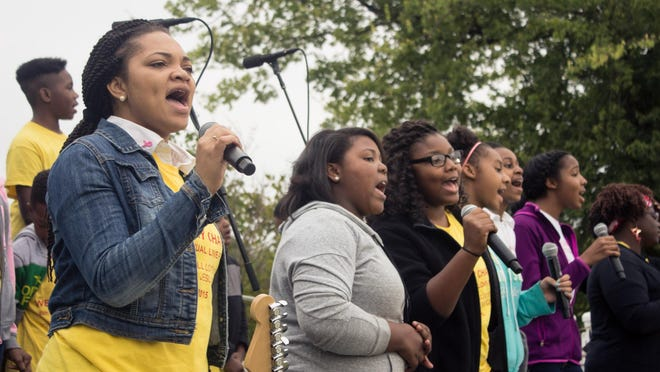 The Wesley Chapel United Methodist Church youth choir provided music and entertainment during Praise in the Park on Sunday afternoon.