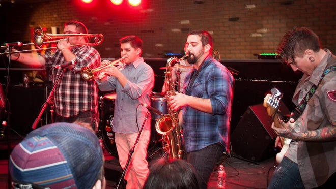 Ska band For the Record consists of Asa Waggoner on lead vocals, Riley Reitzel on bass, Tylare Mathews on drums, Niko East on trombone, Joseph Rocha on sax and Martin Saiza on trumpet. The band plays Friday at The Cellar Door.