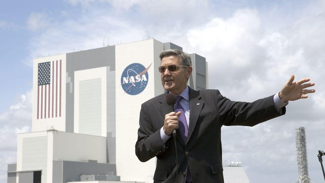 Standing in front of the Vehicle Assembly Building, Kennedy Space Center Director Bob Cabana briefed members of the media in April on the spaceport's progress in becoming a multi-user spaceport.