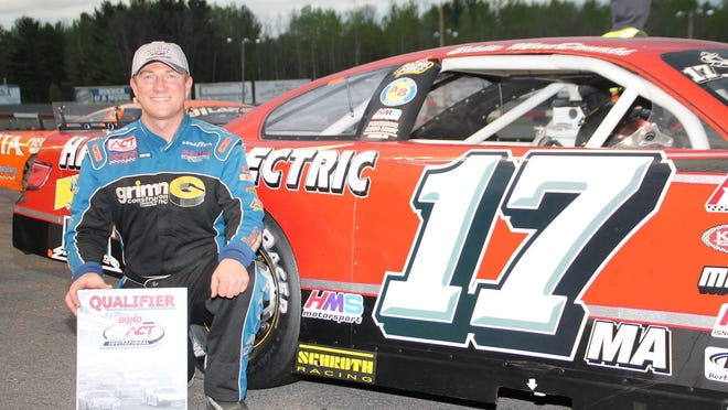 Eddie MacDonald of Rowley, Mass., celebrated a surprise ACT victory in the Spring Green 116 at Airborne Park Speedway on Saturday night.