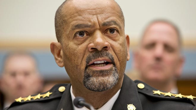 Sheriff David Clarke Jr. testifies on Capitol Hill in Washington last year before a House Judiciary Committee hearing on Policing Strategies for the 21st Century.