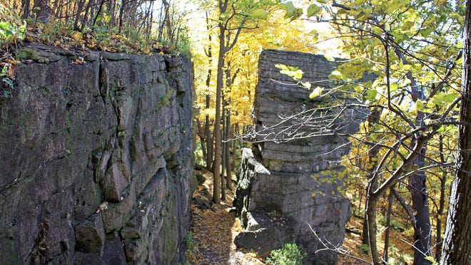 Portions of the Niagara Escarpment are visible in High Cliff State Park on the eastern shore of Lake Winnebago.
