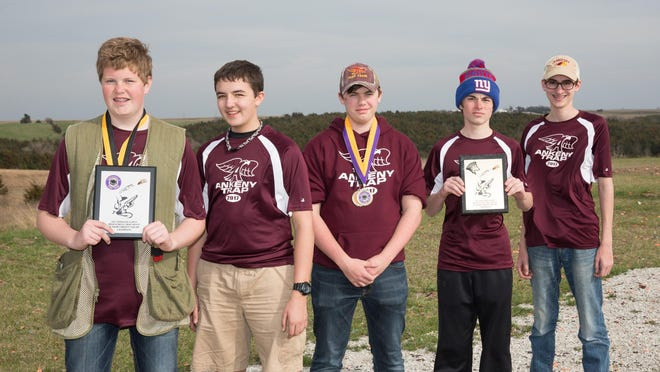 The Ankeny High School junior varsity Maroon A squad swept first place in both the morning and afternoon at meets April 8 in Creston. Pictured from left are Nick Krusemark, Joseph Eller, Nathan Brandmeyer, Jack Binns and Davis Cooper.
