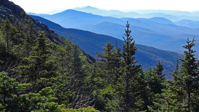 The view from Mount Mansfield on the Laura Cowles Trail looking out over Camels Hump and the Green Mountains. Norwich University founder Alden Partridge climbed Mount Mansfield and Camels Hump in the early 1800s.