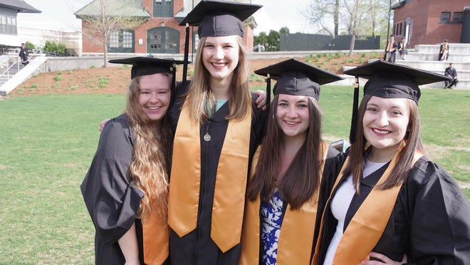 Champlain College graduates at Saturday's commencement.