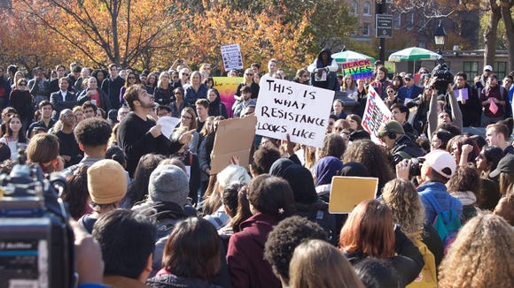 At noon, NYU students staged a school wide classroom walk out, joining 107 universities across the nation in the #sanctuarycampus movement. This event is modeled after the efforts of national group Movimiento Cosecha which seeks to protect immigrant students who could be adversely hurt by Trump Administration policy. (Photo: Carly Tennes, NYU student