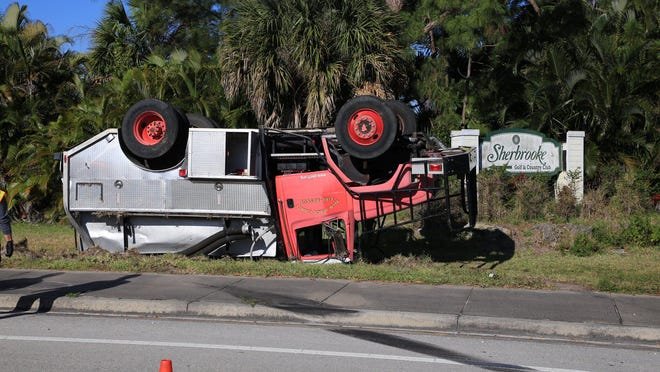 A firefighter was injured April 2, 2020, in a rollover crash at Lyons and Lantana roads.
