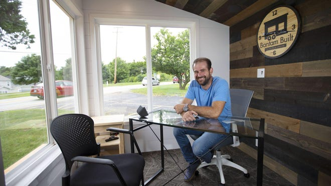 Bob Clarizio, CEO and founder of Bantam Built, sits inside the light-filled INshed on Aug. 3, 2020. Clarizio designed the shed as a way to have a home office on your property. The INshed is about 100 square feet and is made out of standard four-season building materials.
