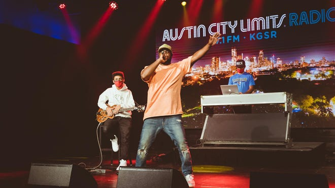 """Rapper Kydd Jones, with guitarist Bomani Barton and H-Plus on laptop, performed as part of ACL Radio's first """"Blues on the Screen,"""" televised Wednesday on Fox 7 Austin."""