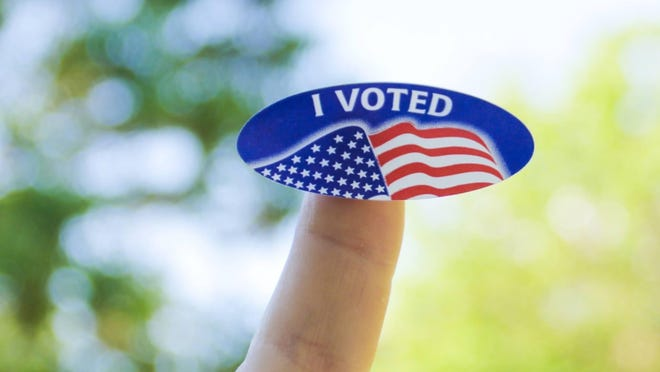 A 'I Voted' sticker is pictured here following a visit to a voting booth. FILE PHOTO/ THE RECORD HERALD