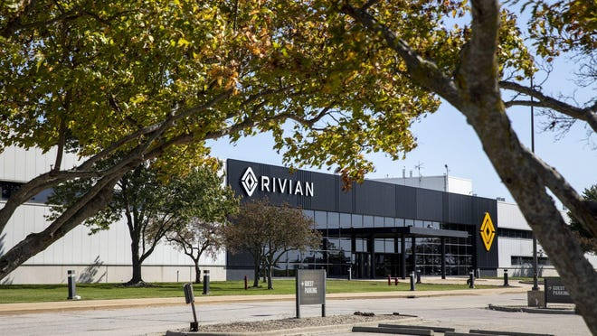 Electric truck startup company Rivian is housed in the former Mitsubishi factory in Normal, Ill., in 2019.