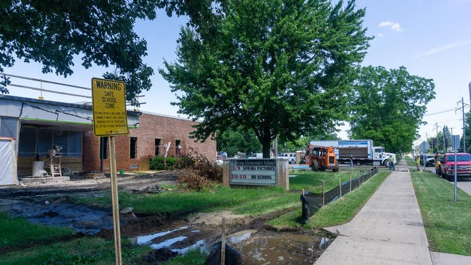 Construction takes place at King Elementary School on Thursday afternoon.