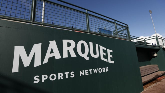 Marquee Sports Network signage the left field home team bullpen at Sloan Park in Mesa, Ariz. on Saturday, Feb. 22, 2020.