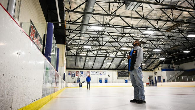 Gerald Bell, maintenance supervisor at Riverview Ice House, looks toward the roof of the ice house where rain drips into the facility on Monday, Oct. 12, 2020, in Rockford.