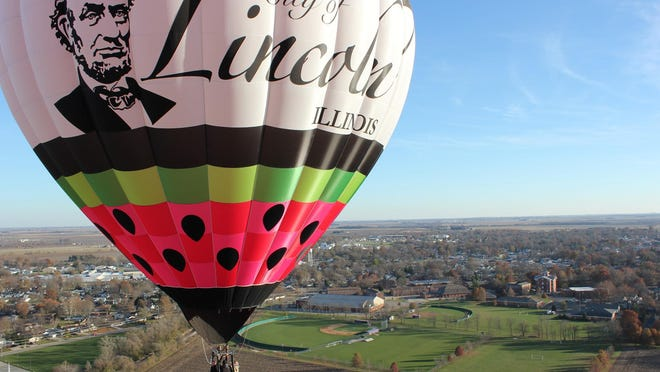 Seth Goodman, of LIncoln, pilots his hot air balloon over the city of Lincoln.