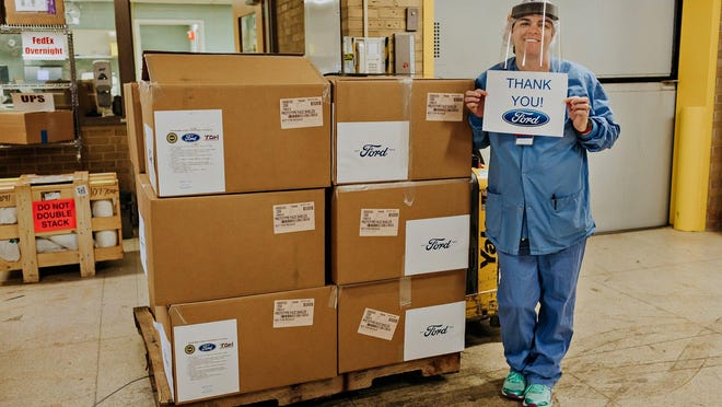 About 6,000 face shields were donated to HSHS St. John's Hospital by the Ford Motor Co.