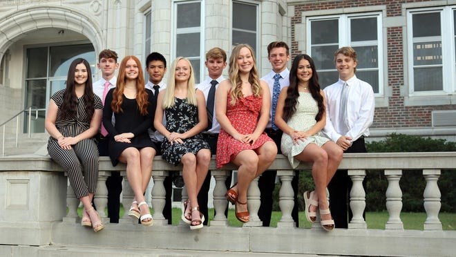 TMP-Marian High School 2020 Homecoming royalty, left to right: Allison Applequist and Jackson Schulte; Emma Schmidt and Ian Chiu; Abby Rueschhoff and Lucas Lang; Emilee Augustine and Hunter Flax; and Hannah Flynn and Kooper Hudsonpillar.