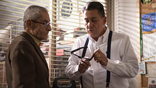 "Sergio Chamy, left, and Rómulo Aitken in ""The Mole Agent."""