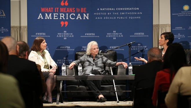 Former Supreme Court Justice Sandra Day O'Connor (center) and Girl Scouts CEO Anna Maria Chávez (right) speak Wednesday at the Heard Museum about growing up in the Southwest and the role it had in their lives. Sacramento Bee Publisher Cheryl Dell (left) moderated the talk.