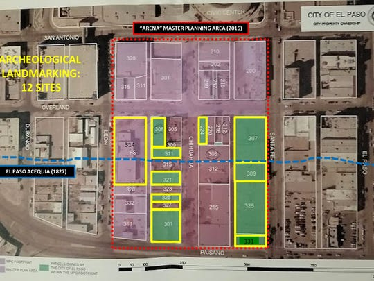 The map of highlighted properties shows the buildings that Downtown El Paso arena opponent Max Grossman and others are seeking state designations for in order to save them from demolition.