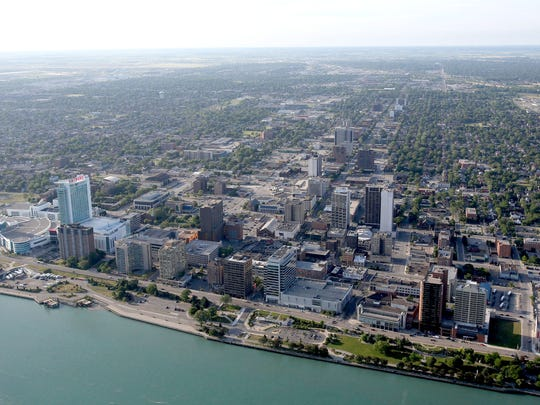 The Windsor, Ontario riverfront on the Detroit River.