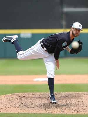 Tigers pitcher Shane Greene throws March 26 during an exhibition game in Lakeland, Fla.