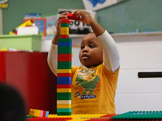 Lawrence Petit builds a tower with Legos during pre-kindergarten class at Temple Beth El, March 26, 2014 in Spring Valley. Temple Beth El is one of several sites East Ramapo uses for their Universal Pre-Kindergarten program.