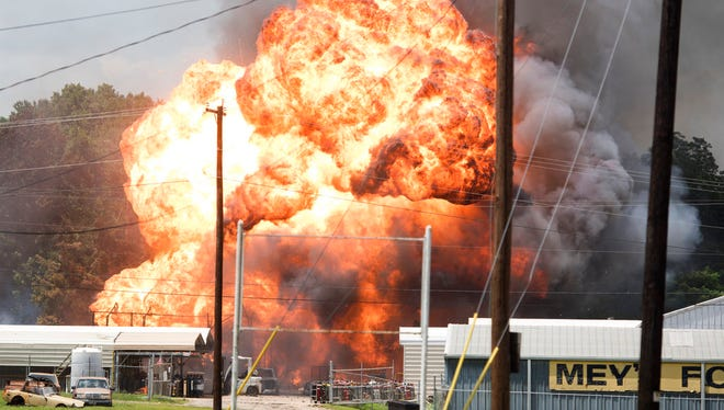 Fire engulfs Tyler Welder Supply in Tyler, Texas, Tuesday June 13, 2017. A fire ignited tank after tank of acetylene gas at the East Texas welders supply lot, firing tanks and shrapnel high into the air but injuring no one. (Sarah A. Miller/Tyler Morning Telegraph via AP)