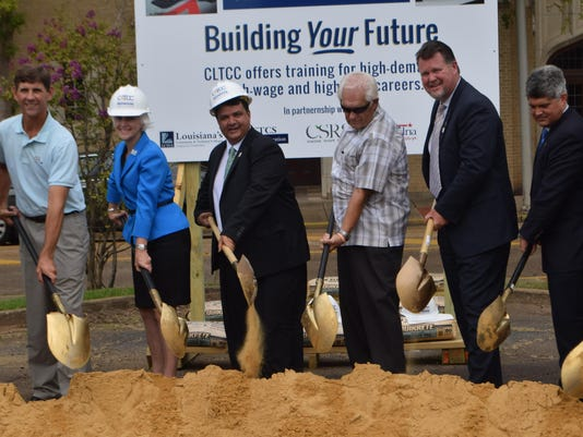 ANI CLTCC Groundbreaking Dignitaries on hand for the groundbreaking of the new Central Louisiana Techical Community College building to be built in downtown Alexandria on the corner of Jackson and Fifth Street included Steve Smith (far left), Louisiana Com