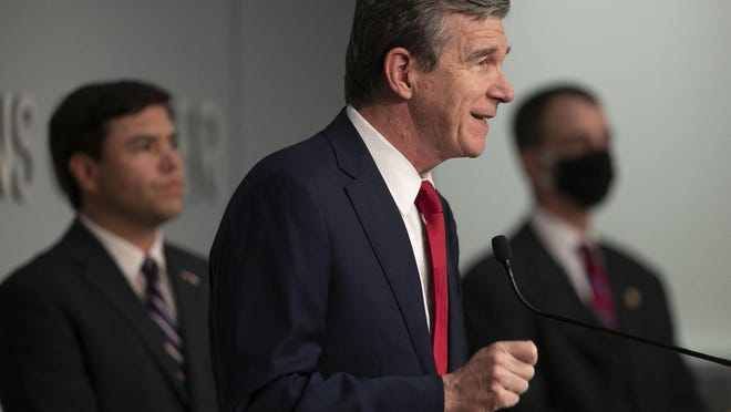 Governor Roy Cooper holds a press briefing at the Emergency Operations Center on Monday, June 8, 2020 in Raleigh, N.C. Cooper updated the public on the COVID-19 virus and response to protests for racial justice.