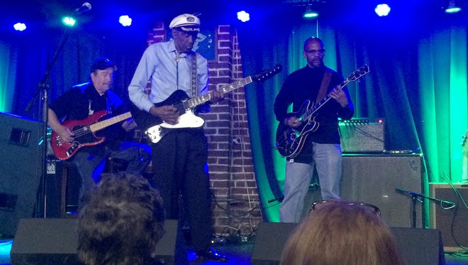 "Chuck Berry leads his band through ""Johnny B. Goode"" during his final concert at Blueberry Hill on Oct. 15, 2014, in University City, Missouri."