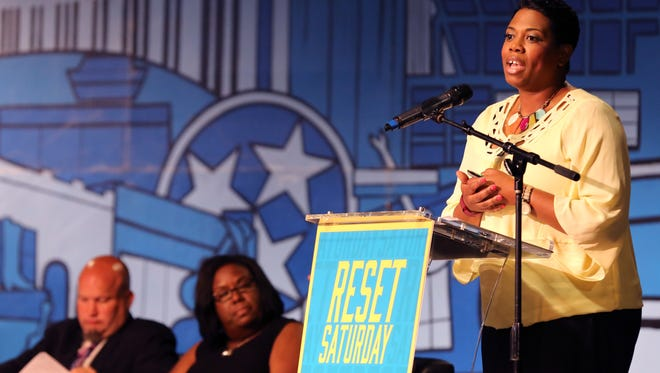 Denise Watt with Project LIFT in Charlotte, N.C., speaks during RESET Saturday at Rocketown.