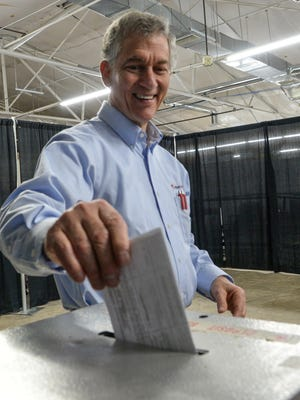 Steve Mears of Anderson casts his ballot during city voting at Anderson precinct 3/1 at the Anderson University Sports Complex on Tuesday.
