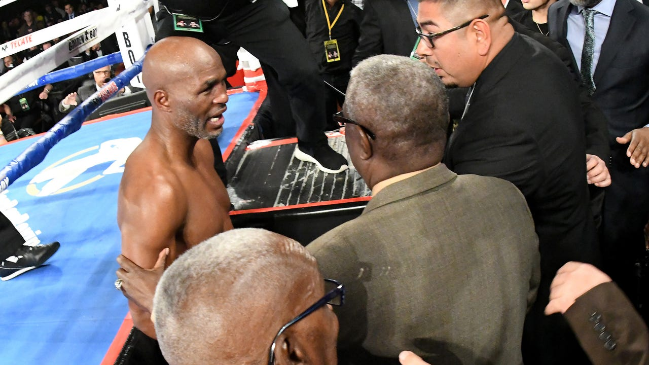 In his farewell fight, Bernard Hopkins was knocked clear out of the ring by opponent Joe Smith Jr.
