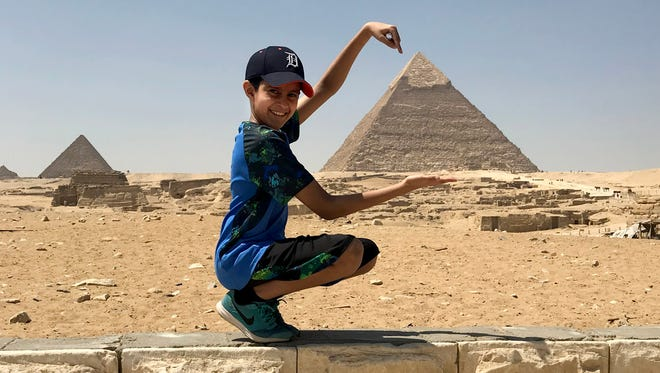 Alaifyah Shakir of Farmington Hills photographed her son Ammar Shakir, 11,  earlier this month when their family took the D to the Giza pyramids of Egypt.