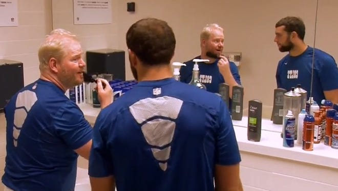 Jim Gaffigan and Colts QB Andrew Luck.