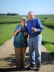 Jerry Lohr, founder of J. Lohr Vineyards & Wines, stands with his wife, Jolene, recently at their home near Garretson.