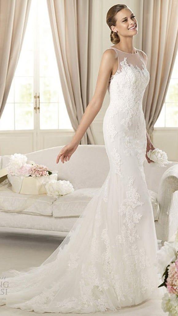 Wedding Dress Illusion Neck