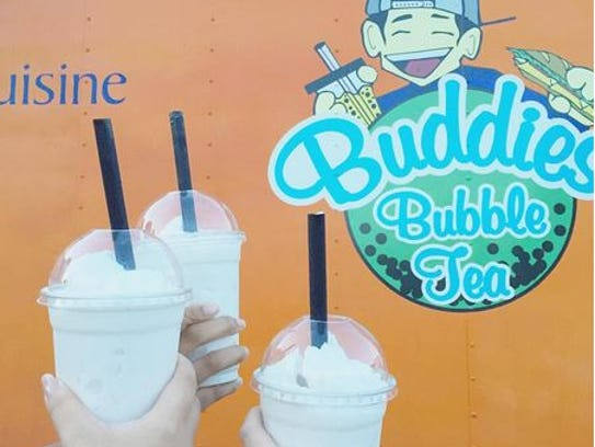 Coconut bubble tea from Buddies food truck.