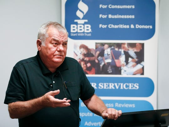 Larry Rushing talks about paying $4,995 to Escape Resolutions, a Springfield-based timeshare exit company, during a press conference to promote a Better Business Bureau study on the Missouri timeshare industry on Tuesday, July 24, 2018.