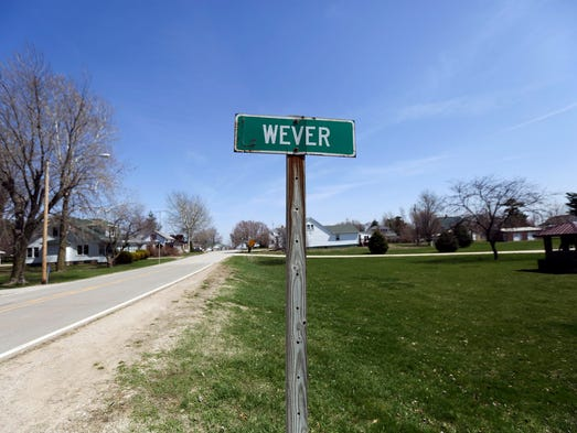 The sign seen on the entry to the small town of Wever, Iowa pictured on Wednesday, April 16, 2014.