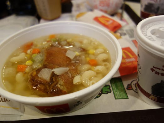 Grilled Chicken Twisty Pasta, Hong Kong: Mac and cheese sounds about right. But what about macaroni in a soupy broth, with chicken strips? A Hong Kong favorite, this breakfast served at McDonald's is actually an adaption of a local dish, served at casual Cantonese restaurants and fast-food shops.