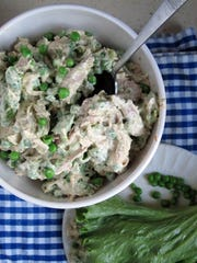 Sweet Pea and Pesto Chicken Salad is a fresh take on